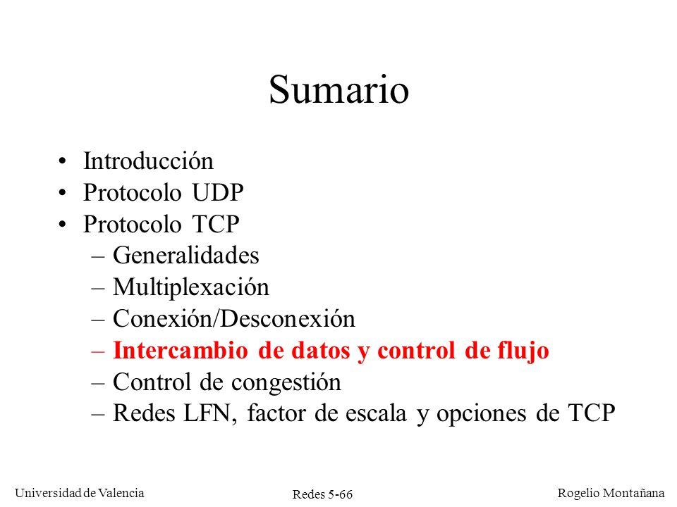 Redes 5-66 Universidad de Valencia Rogelio Montañana Sumario Introducción Protocolo UDP Protocolo TCP –Generalidades –Multiplexación –Conexión/Descone