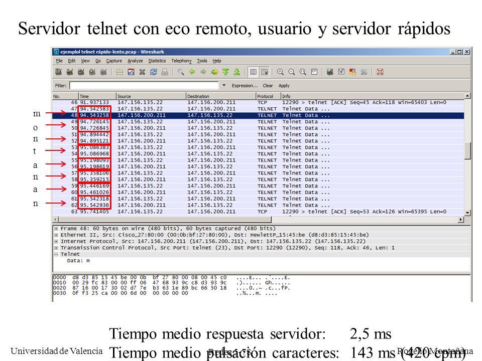 Redes 5-78 Universidad de Valencia Rogelio Montañana Servidor telnet con eco remoto, usuario y servidor rápidos m o n t a n a n Tiempo medio respuesta