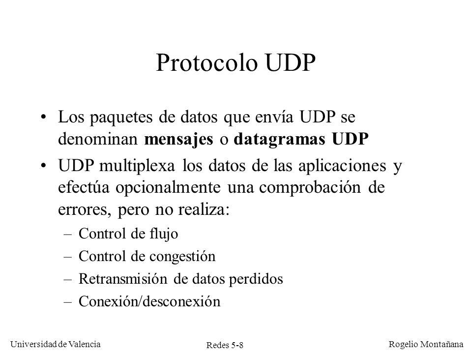 Redes 5-8 Universidad de Valencia Rogelio Montañana Protocolo UDP Los paquetes de datos que envía UDP se denominan mensajes o datagramas UDP UDP multi