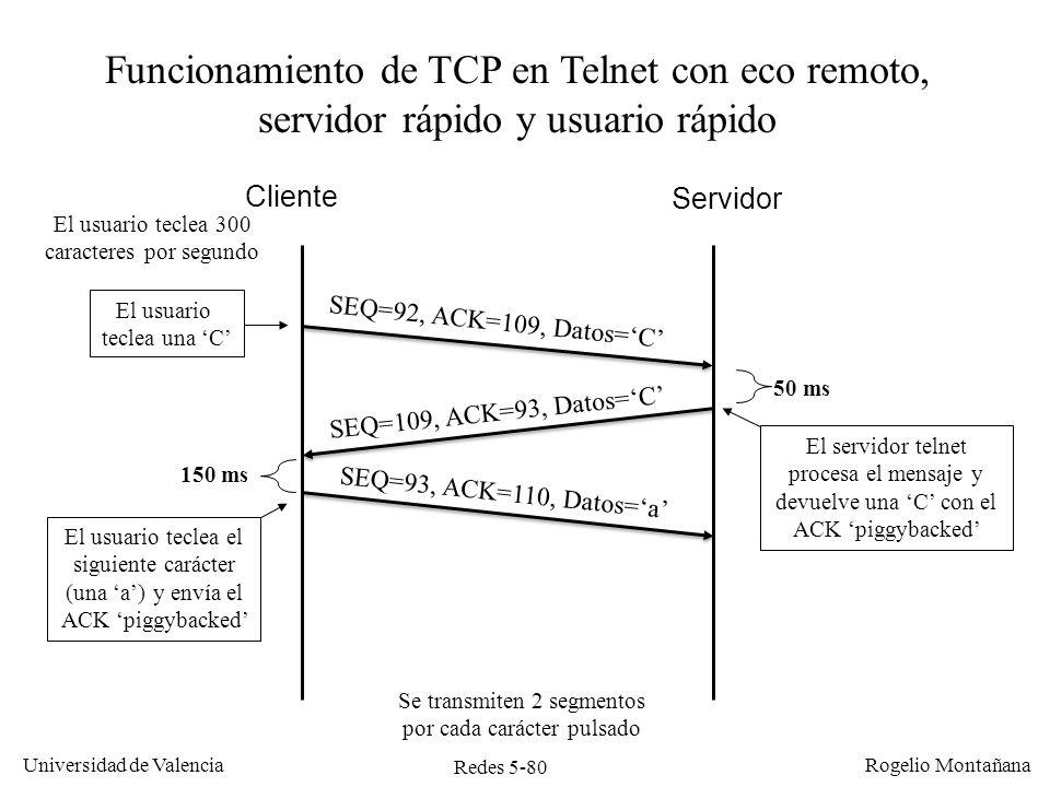 Redes 5-80 Universidad de Valencia Rogelio Montañana Cliente Servidor SEQ=92, ACK=109, Datos=C SEQ=109, ACK=93, Datos=C El servidor telnet procesa el
