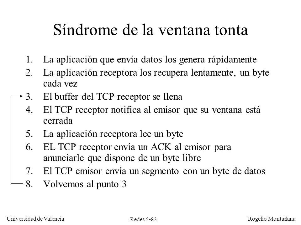 Redes 5-83 Universidad de Valencia Rogelio Montañana Síndrome de la ventana tonta 1.La aplicación que envía datos los genera rápidamente 2.La aplicaci