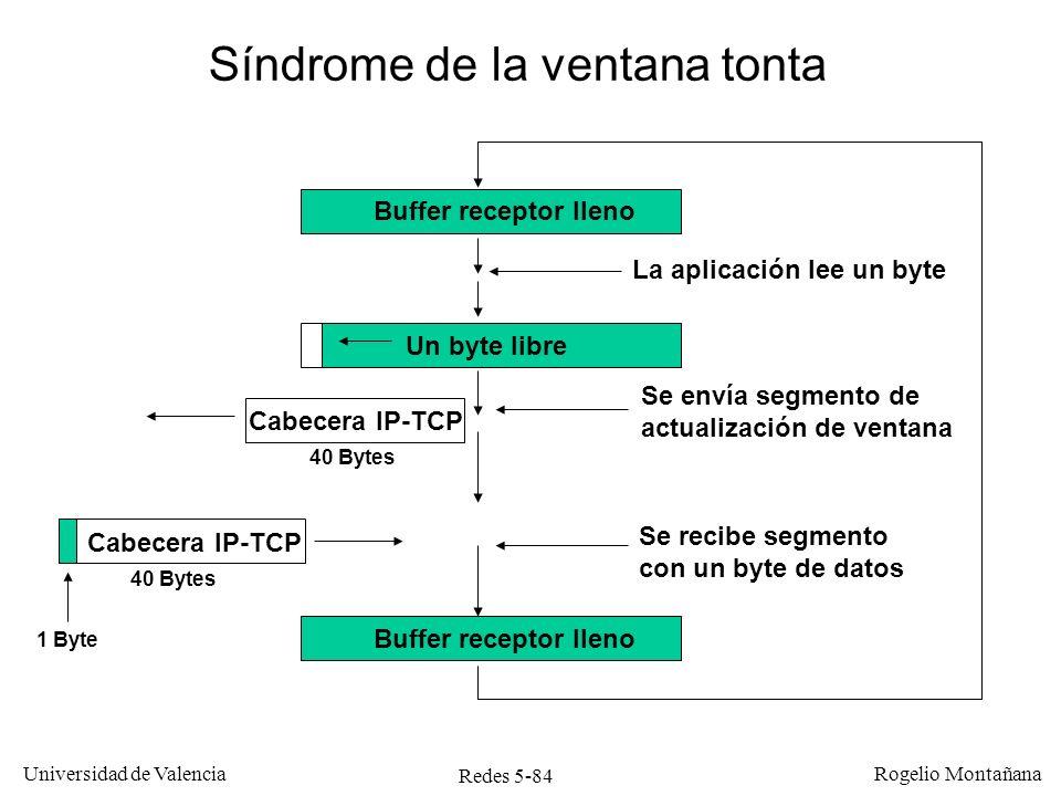 Redes 5-84 Universidad de Valencia Rogelio Montañana La aplicación lee un byte Buffer receptor lleno Un byte libre Buffer receptor lleno Cabecera IP-T