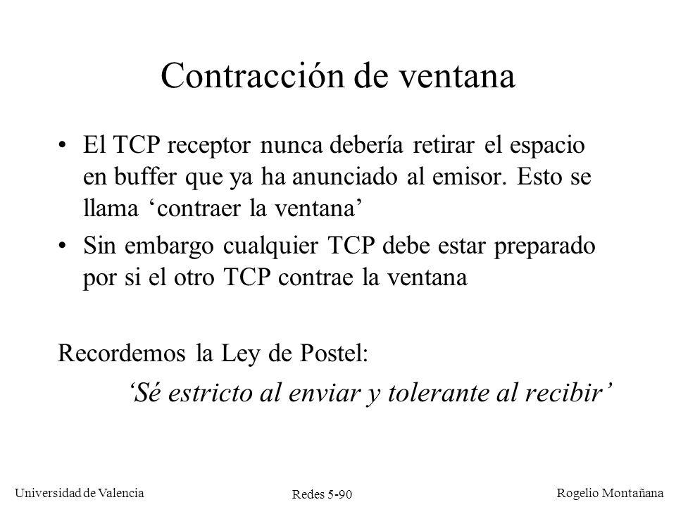 Redes 5-90 Universidad de Valencia Rogelio Montañana Contracción de ventana El TCP receptor nunca debería retirar el espacio en buffer que ya ha anunc