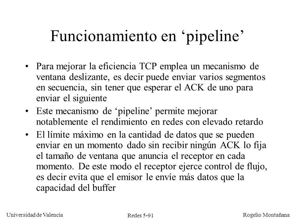 Redes 5-91 Universidad de Valencia Rogelio Montañana Funcionamiento en pipeline Para mejorar la eficiencia TCP emplea un mecanismo de ventana deslizan