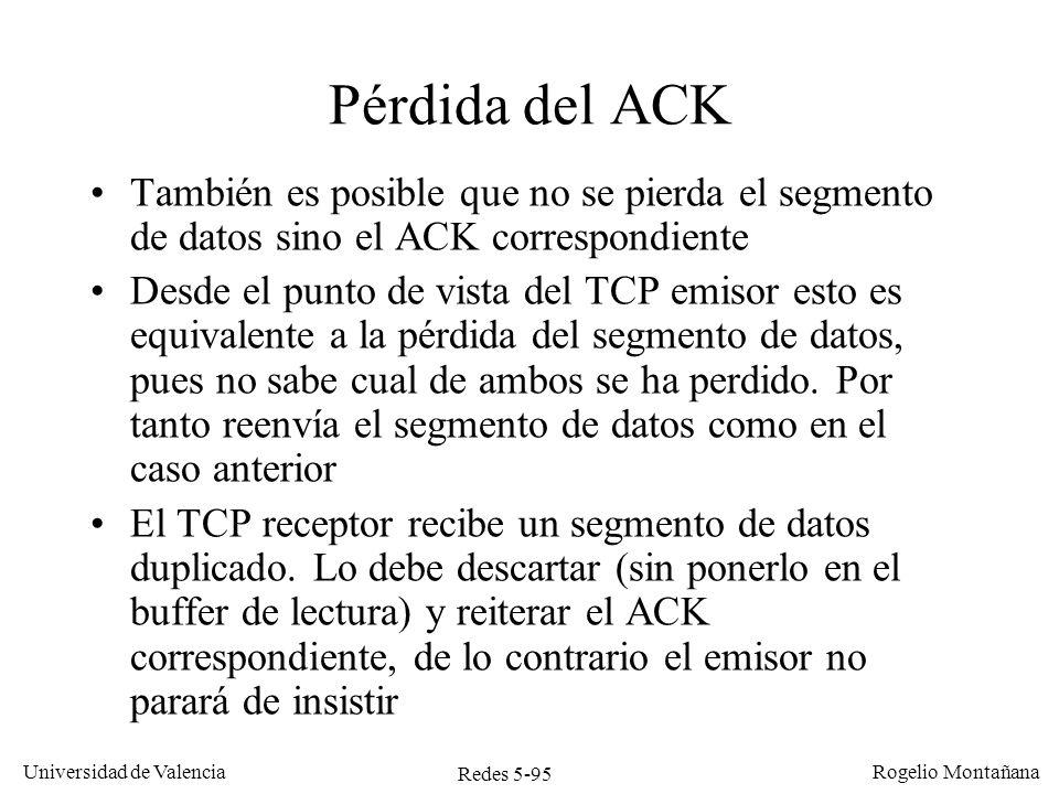 Redes 5-95 Universidad de Valencia Rogelio Montañana Pérdida del ACK También es posible que no se pierda el segmento de datos sino el ACK correspondie