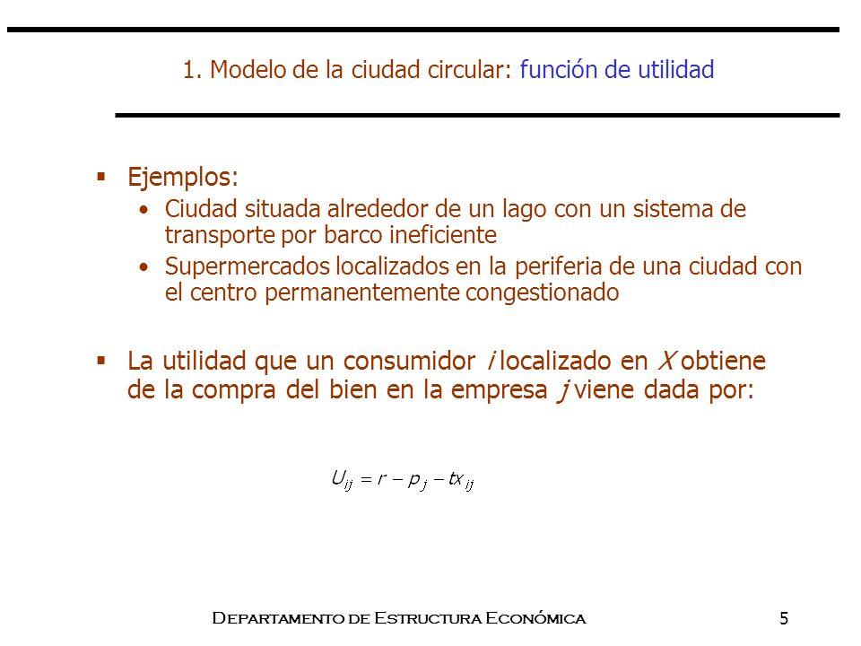 Departamento de Estructura Económica5 1. Modelo de la ciudad circular: función de utilidad Ejemplos: Ciudad situada alrededor de un lago con un sistem