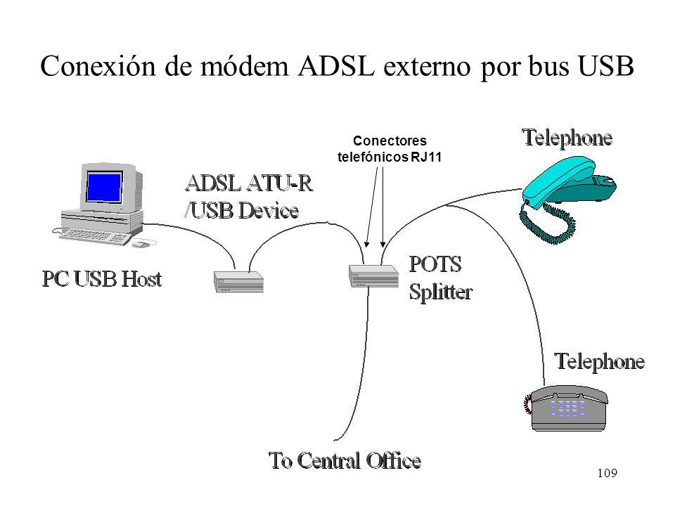 108 Módems ADSL (ATU-Remote) El módem ADSL puede ser: –Externo: conectado al ordenador por: Ethernet 10BASE-T ATM a 25 Mb/s Puerto USB –Interno, conec