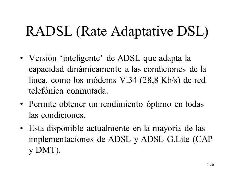125 Red telefónica Internet DSLAM (ATU-C) Modem ADSL (ATU-R) Bucle de Abonado (5,5 Km máx.) Altas Frecuencias Bajas Frecuencias Configuración de ADSL