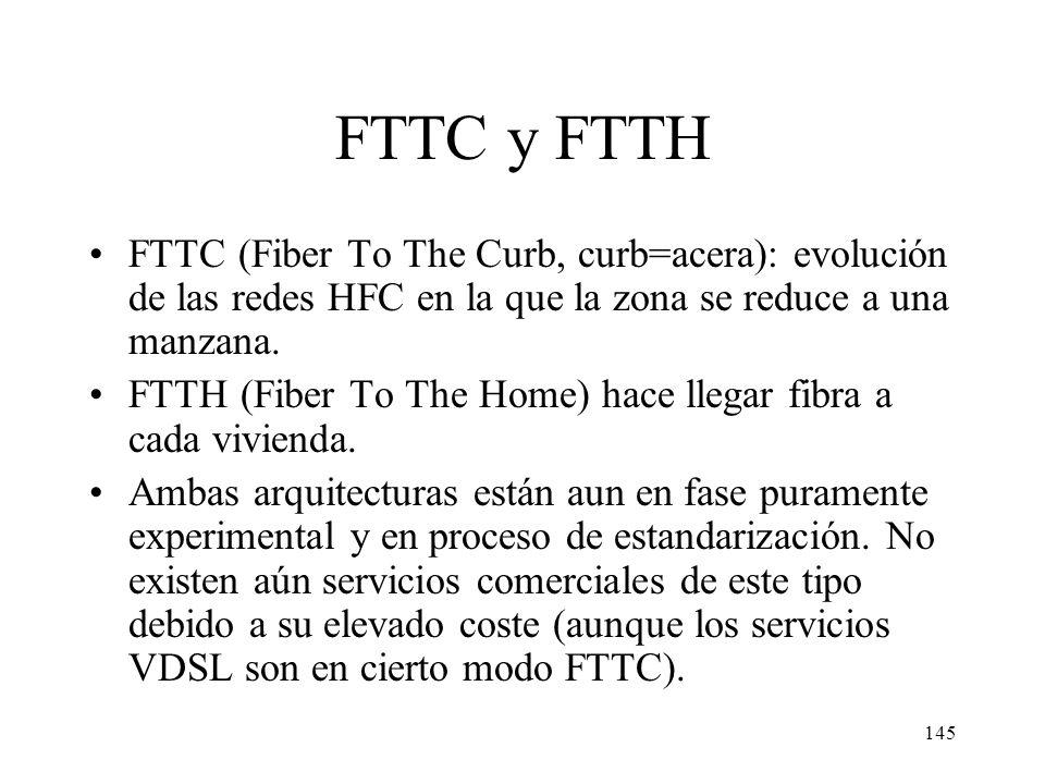 144 Sumario Introducción Fundamentos técnicos Redes CATV ADSL y xDSL Redes basadas en fibra: FTTC y FTTH Sistemas inalámbricos: LMDS y satélite Compar