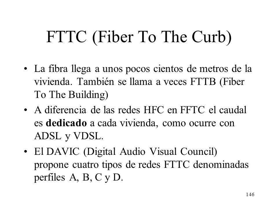 145 FTTC y FTTH FTTC (Fiber To The Curb, curb=acera): evolución de las redes HFC en la que la zona se reduce a una manzana. FTTH (Fiber To The Home) h