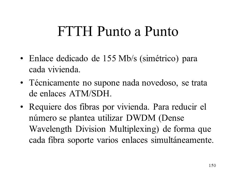 149 FTTH (Fiber To The Home) Utiliza solo fibra, no cable metálico (salvo quizá en el interior de la vivienda). Se puede considerar el caso extremo de