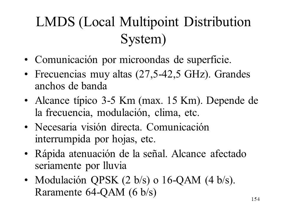 153 Sistemas inalámbricos fijos LMDS Satélites geoestacionarios Satélites de órbita baja
