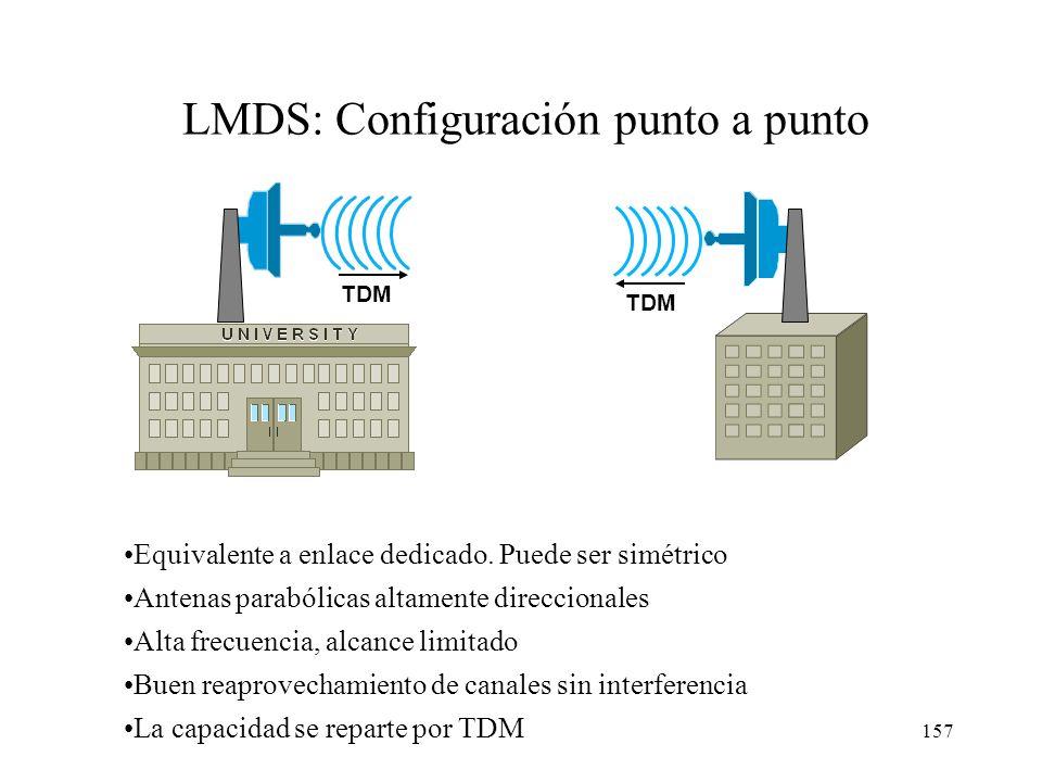 156 Topología redes LMDS Conexiones punto a punto Conexiones punto a multipunto: –Bidireccional: retorno vía radio. Antena parabólica muy direccional
