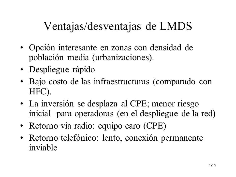 164 Protocolo MAC ascendente en LMDS multipunto TDM BSU NIU 1 NIU 2 NIU 3 FDMA 1 FDMA 2 FDMA 3 TDM NIU 1 NIU 2 NIU 3 FDMA 1 TDMA (compartido) BSU Acce