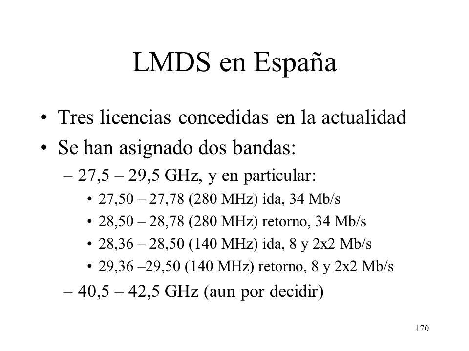 169 LMDS en España Complemento adecuado para las redes de TV por cable. Operadoras de CATV principales interesadas Posibilidad de despliegue muy rápid