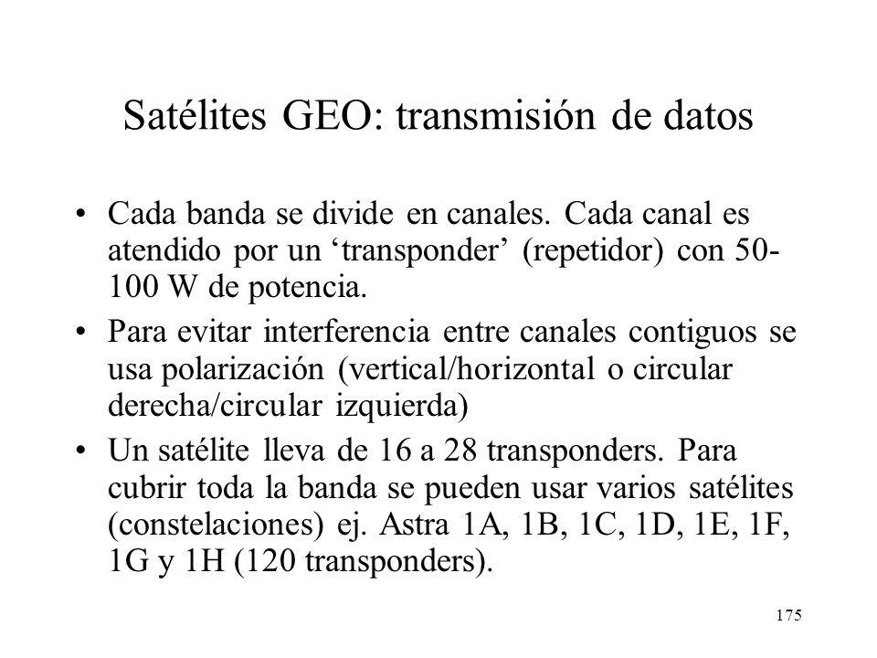 174 Satélites GEO: Bandas y Frecuencias BandaAnchura (GHz) F. Bajada (GHz) F. Subida (GHz) ProblemasEjemplos C0,53,7-4,25,92-6,42Interfer. terrestre I