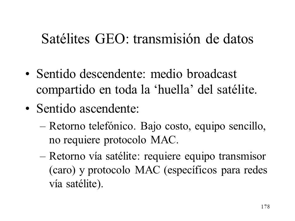 177 Frecuencias y canales de datos en Eutelsat 33 MHz 38 MHz Transponder 1 Transponder 3Transponder 2 Canales de 6 MHzCanales de 2 MHz Banda de guarda
