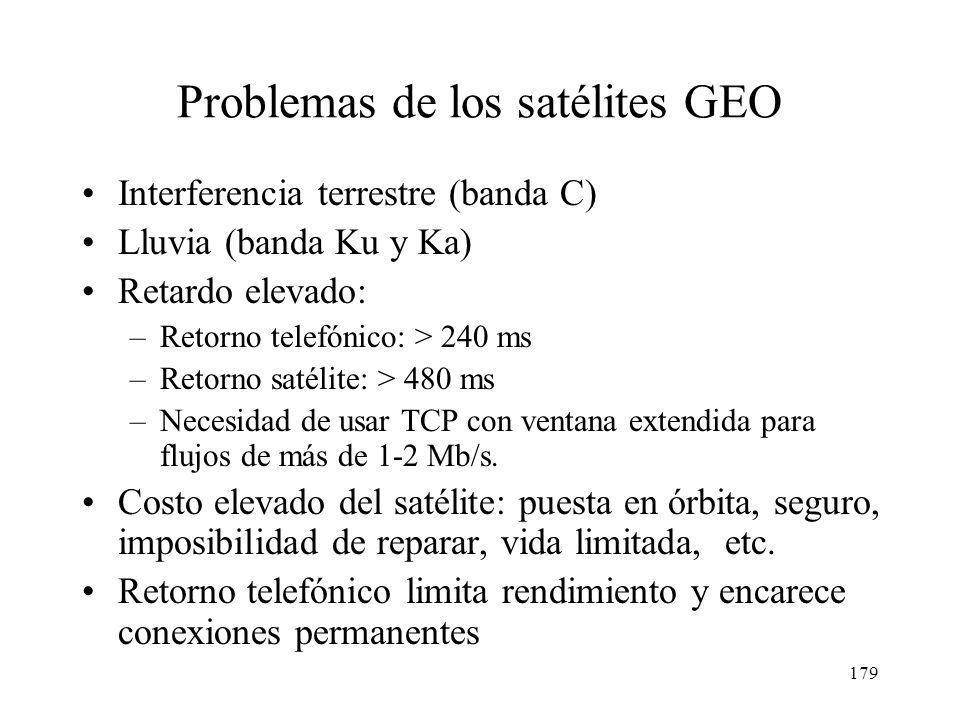 178 Satélites GEO: transmisión de datos Sentido descendente: medio broadcast compartido en toda la huella del satélite. Sentido ascendente: –Retorno t