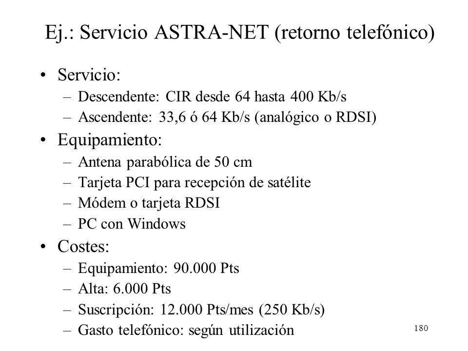 179 Problemas de los satélites GEO Interferencia terrestre (banda C) Lluvia (banda Ku y Ka) Retardo elevado: –Retorno telefónico: > 240 ms –Retorno sa
