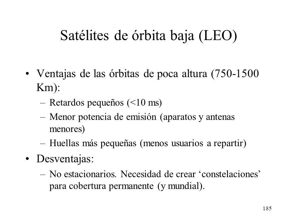 184 Sistemas inalámbricos fijos LMDS Satélites geoestacionarios Satélites de órbita baja