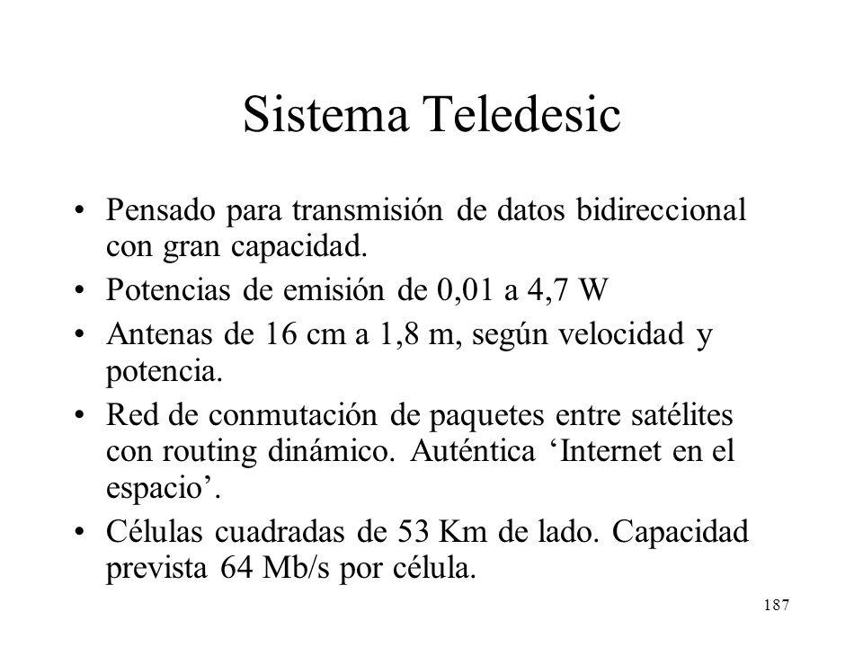 186 Comparación satélites LEO Frec. Asc. (GHz) Frec. Desc. (GHz) Nº Satel.Órbita (Km) Caudal max. Puesta en marcha Conmu- tación Globalstar1,61-1,6262