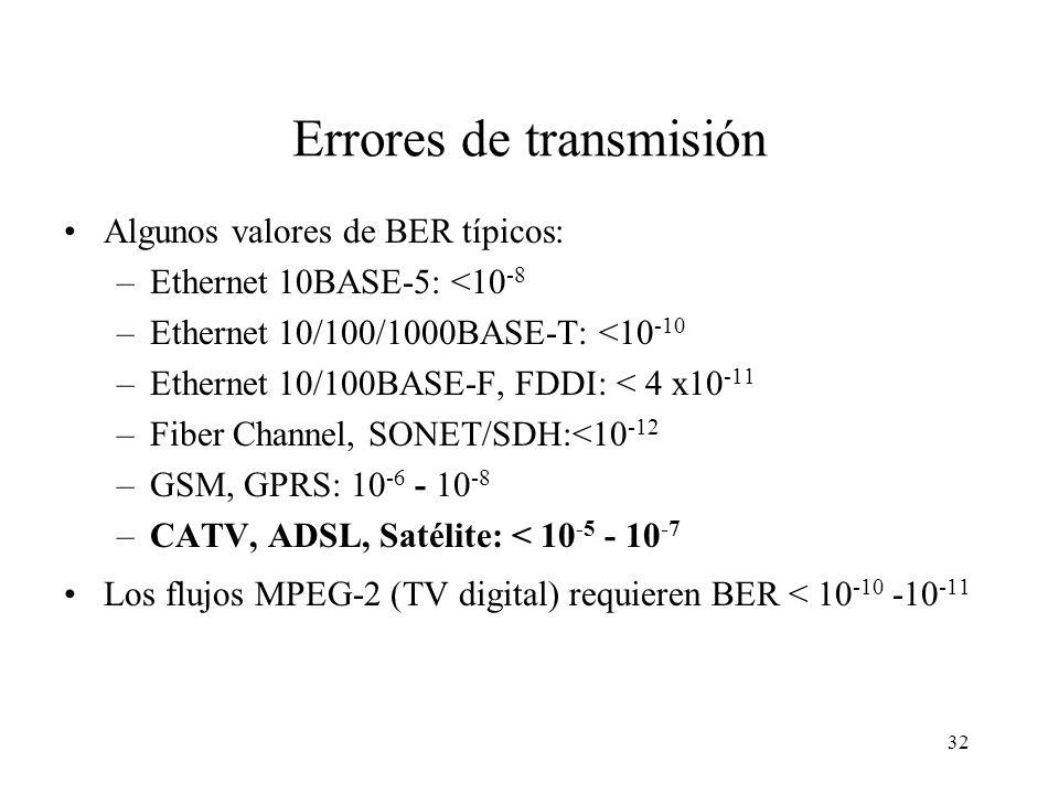 31 Errores de transmisión Se dan en cualquier medio de transmisión, especialmente en RBB ya que: –Se utilizan cables de cobre (coaxial en CATV y de pa