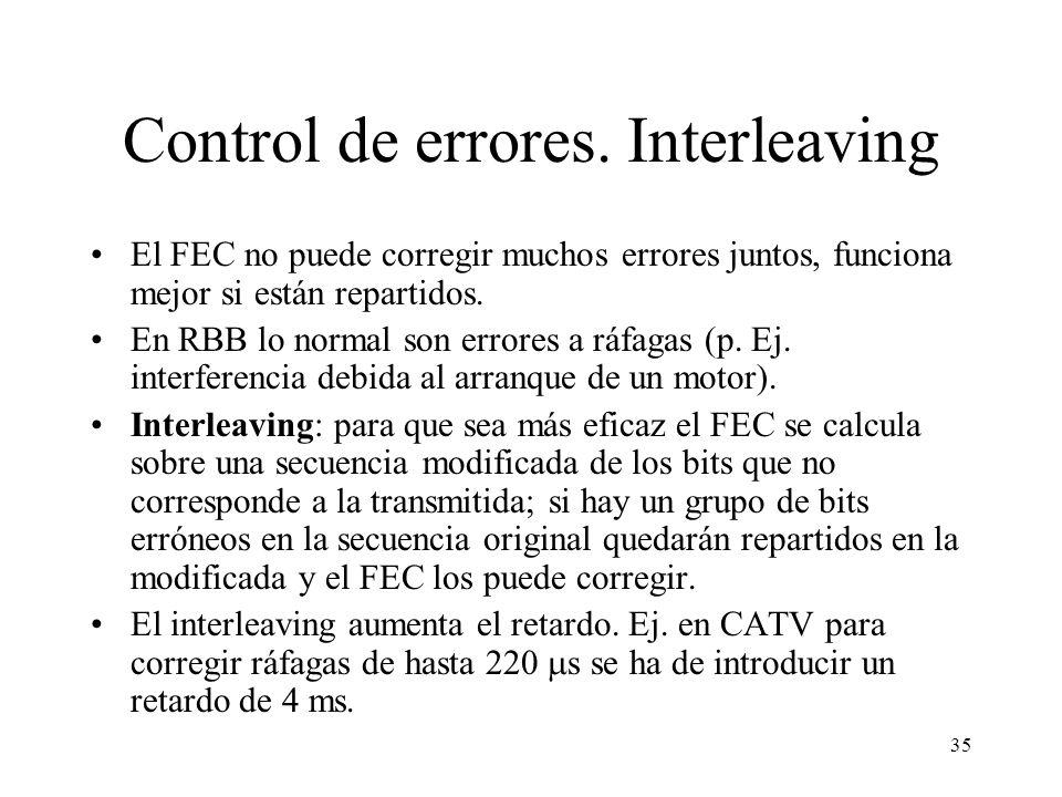 34 Control de errores. FEC La TV Digital (y por tanto la RBB) utiliza códigos correctores o FEC (Forward Error Correction). No se puede pedir retransm