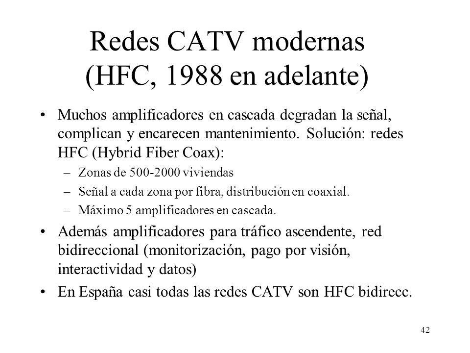 41 Receptores y Decodificadores Moduladores y Conversores Contenidos locales CABECERA Arquitectura típica de una red CATV coaxial tradicional Hasta 50