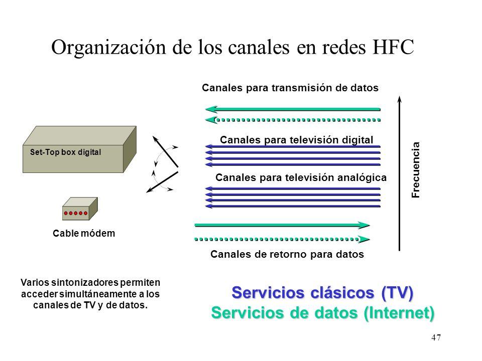 46 Transmisión de datos en CATV Sentido descendente (ida): datos modulados en portadora analógica de un canal de televisión de 6 MHz (NTSC) u 8 MHz (P