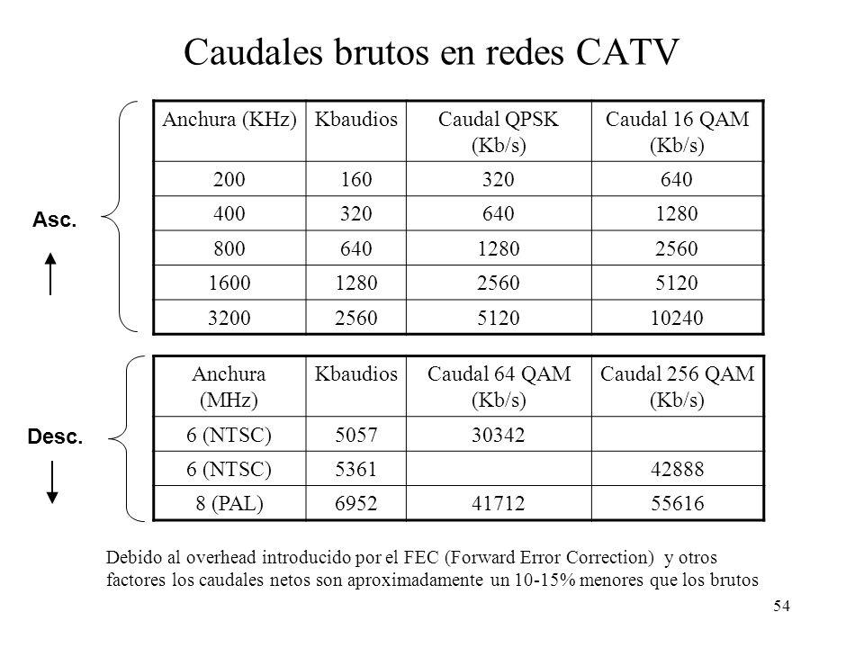 53 Técnicas de modulación para transmisión de datos en redes CATV QPSK: Quadrature Phase-Shift Keying QAM: Quadrature Amplitude Modulation ModulaciónS