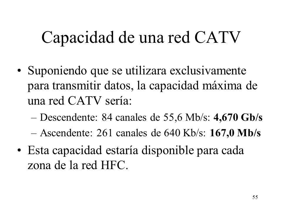 54 Caudales brutos en redes CATV Debido al overhead introducido por el FEC (Forward Error Correction) y otros factores los caudales netos son aproxima
