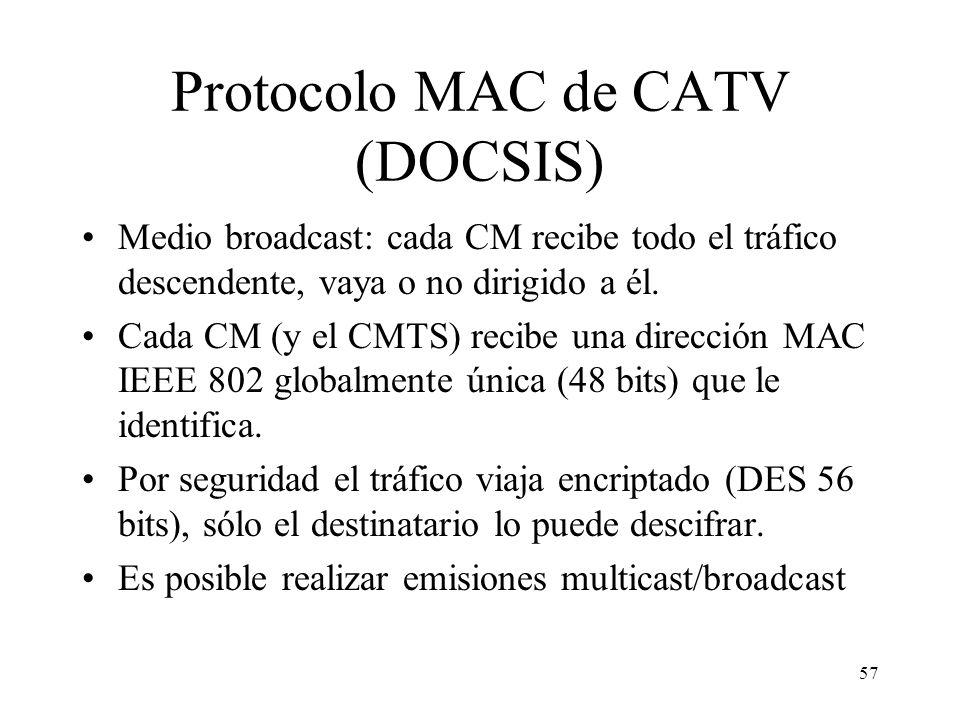 56 Esquema de una zona en una red CATV Canal Descendente (854- 862 MHz) 41,7 Mb/s compartidos por 3 usuarios (1) (2) (3) Un canal ascendente – (29,7–3