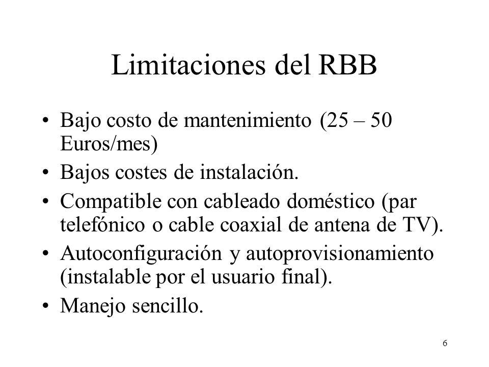 6 Limitaciones del RBB Bajo costo de mantenimiento (25 – 50 Euros/mes) Bajos costes de instalación.