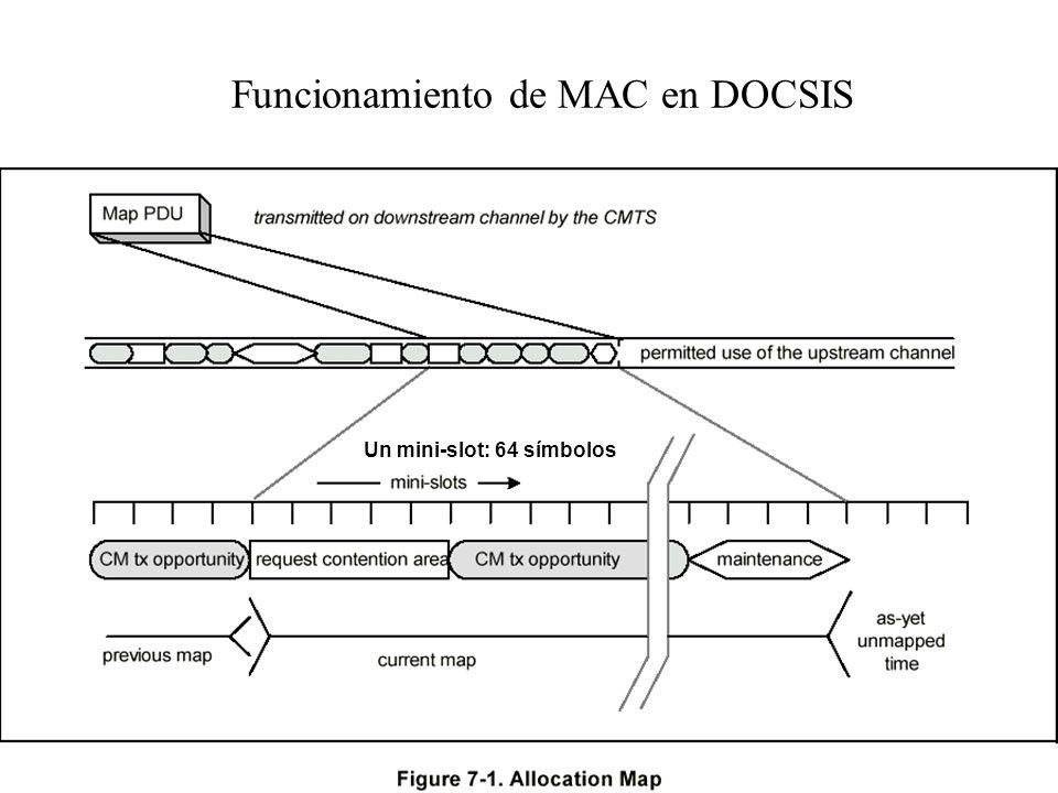 59 MAC de CATV (DOCSIS) En descendente el CMTS es el único que emite, por tanto no hay conflicto. En ascendente los CM comparten el canal. Cuando un C