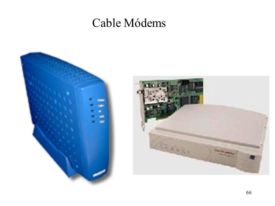 65 Esquema funcional de un Cable Modem Sintonizador de RF Lógica de control MAC Demodulador QAM-64/QAM-256 Modulador QPSK/QAM-16 Emisor de RF Cable mó