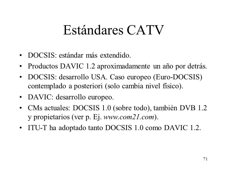 70 Cronología estándares CATV IEEE 802.14DAVICMCNS 5/94Creación 12/95DAVIC 1.0 1/96Creación 9/96DAVIC 1.1 12/96DAVIC 1.2 3/97DOCSIS 1.0 9/98Publicació
