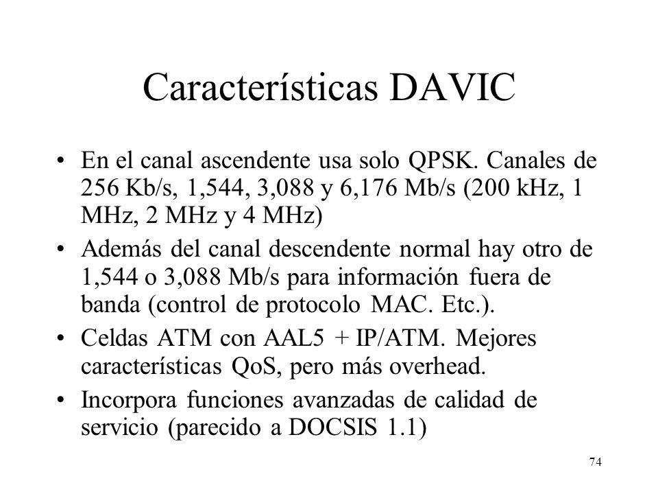 73 Mejoras DOCSIS 1.1 Impide que un usuario monopolice canal ascendente (fragmenta el paquete si es muy grande). Si coexisten CMs DOCSIS v 1.0 y v 1.1