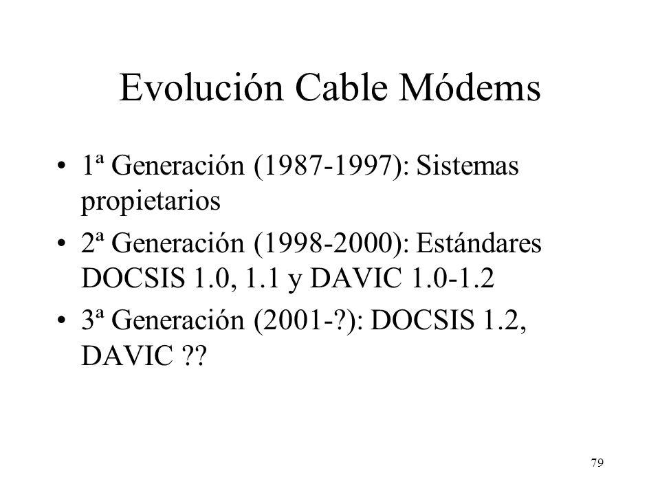 78 IEEE 802.14 Grupo de trabajo creado en 1984. Primer borrador de especificaciones publicado en 1998: –Nivel físico: posibilidad de canales ascendent