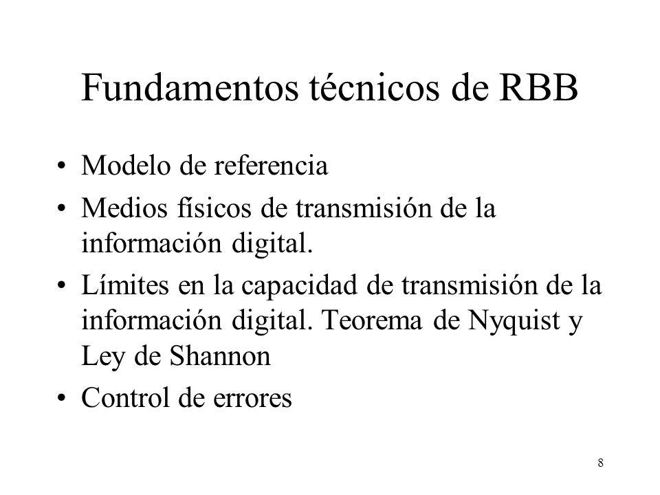 8 Fundamentos técnicos de RBB Modelo de referencia Medios físicos de transmisión de la información digital.