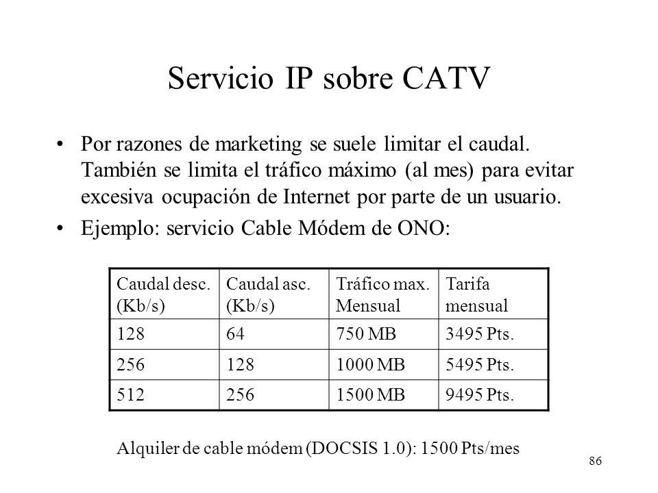 85 Red de centros regionales 2,5 Gb/s (SDH) Red metropolitana 622 Mb/s (SDH) Hosting ISP Larga Distancia Red HFC Cabecera red CATV HFC Red telefónica