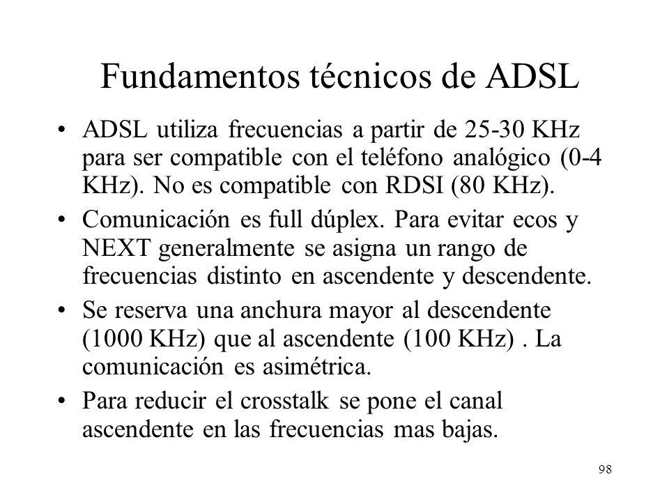 97 Fundamentos técnicos de ADSL La limitación de los enlaces telefónicos (33,6 o 56 Kb/s) no se debe al cable de pares sino al canal de 3,3 KHz. RDSI