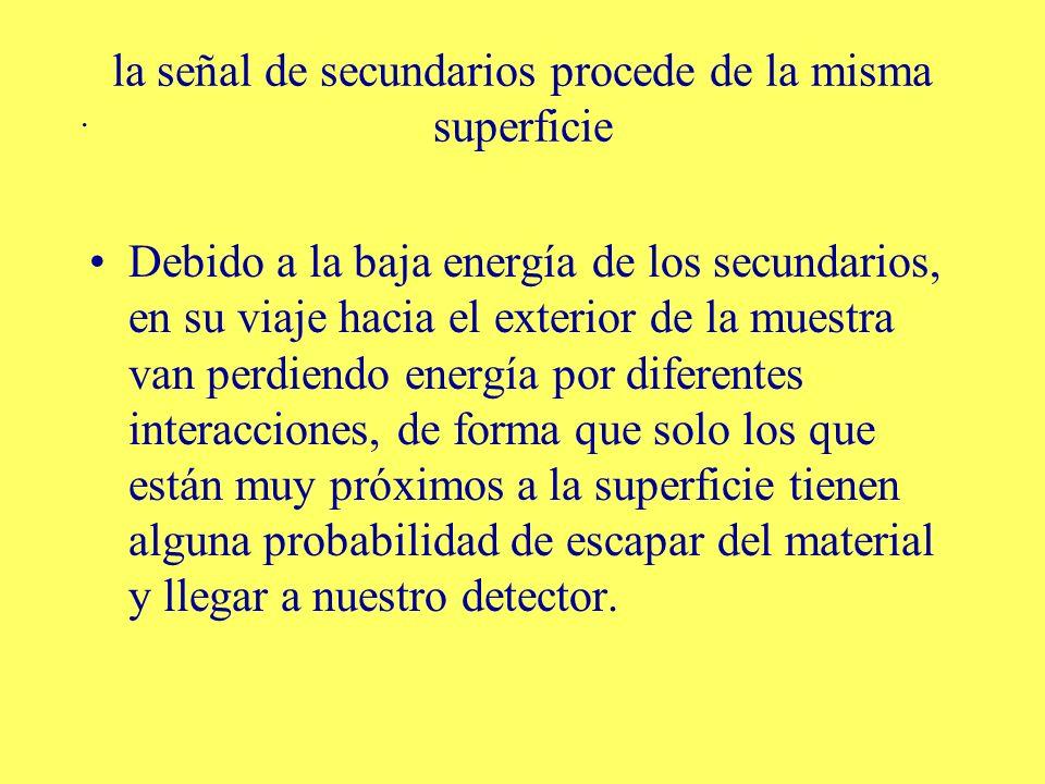 . la señal de secundarios procede de la misma superficie Debido a la baja energía de los secundarios, en su viaje hacia el exterior de la muestra van