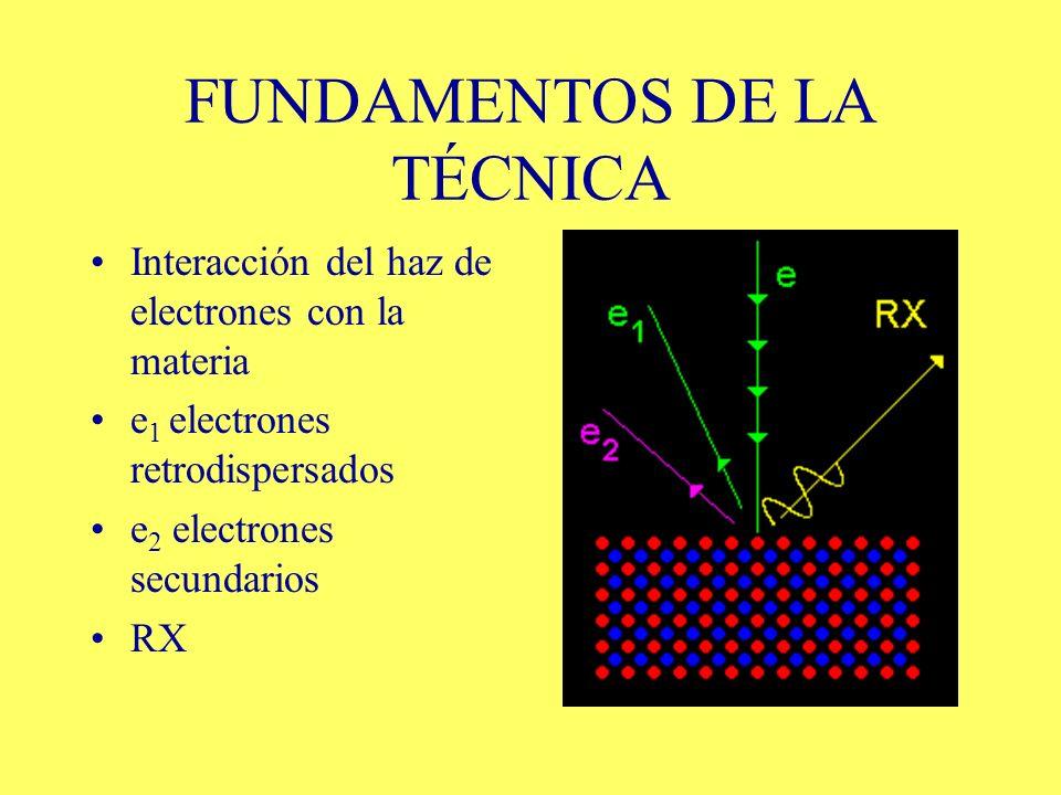 FUNDAMENTOS DE LA TÉCNICA Interacción del haz de electrones con la materia e 1 electrones retrodispersados e 2 electrones secundarios RX