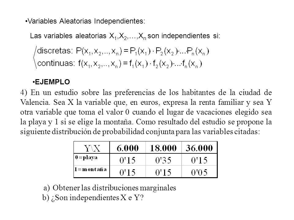 Variables Aleatorias Independientes: Las variables aleatorias X 1,X 2,…,X n son independientes si: EJEMPLO 4) En un estudio sobre las preferencias de