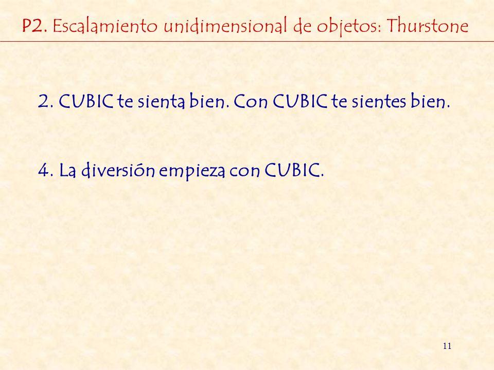 11 2. CUBIC te sienta bien. Con CUBIC te sientes bien. 4. La diversión empieza con CUBIC. P2. Escalamiento unidimensional de objetos: Thurstone