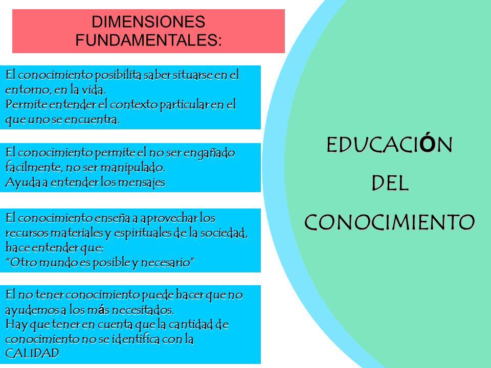 EDUCACI Ó N DELCONOCIMIENTO DIMENSIONES FUNDAMENTALES: El conocimiento posibilita saber situarse en el entorno, en la vida. Permite entender el contex