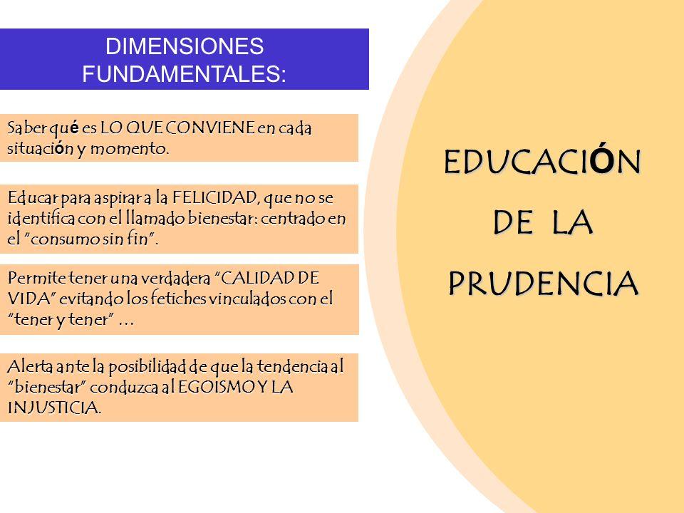 EDUCACI Ó N DE LA PRUDENCIA DIMENSIONES FUNDAMENTALES: Saber qué es LO QUE CONVIENE en cada situación y momento. Educar para aspirar a la FELICIDAD, q