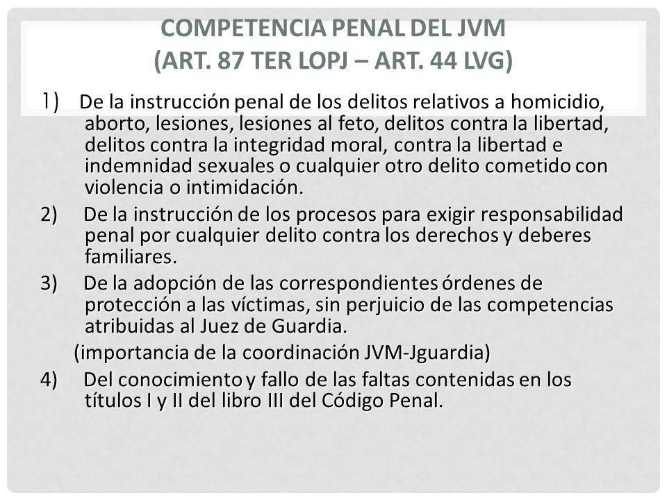 COMPETENCIA PENAL DEL JVM (ART. 87 TER LOPJ – ART. 44 LVG) 1) De la instrucción penal de los delitos relativos a homicidio, aborto, lesiones, lesiones