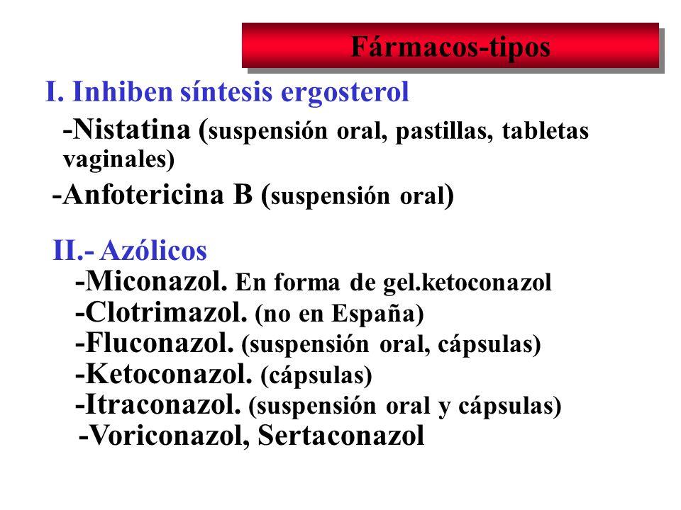 Fármacos-tipos I. Inhiben síntesis ergosterol -Nistatina ( suspensión oral, pastillas, tabletas vaginales) -Anfotericina B ( suspensión oral ) II.- Az