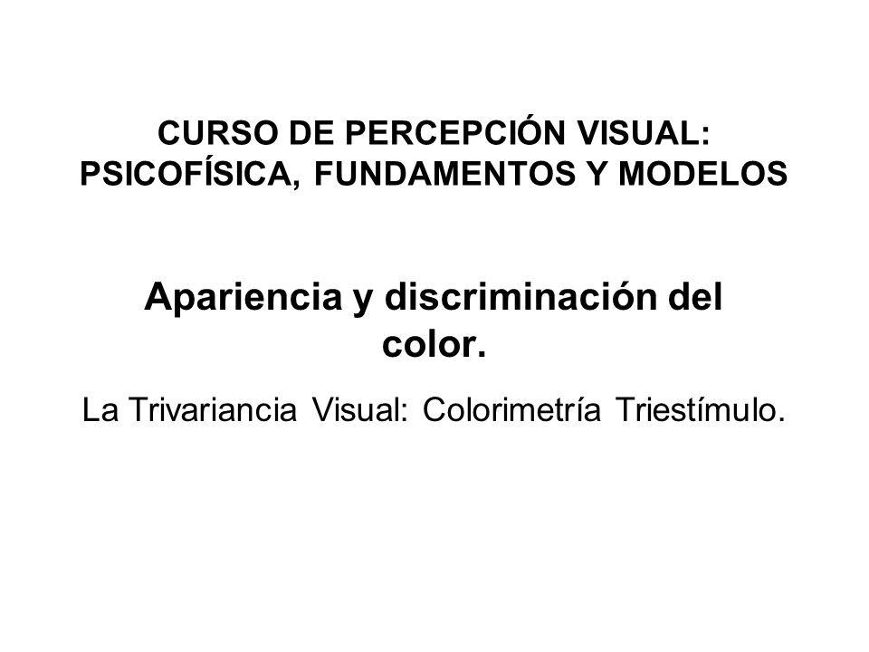 Apariencia y discriminación del color. La Trivariancia Visual: Colorimetría Triestímulo. CURSO DE PERCEPCIÓN VISUAL: PSICOFÍSICA, FUNDAMENTOS Y MODELO